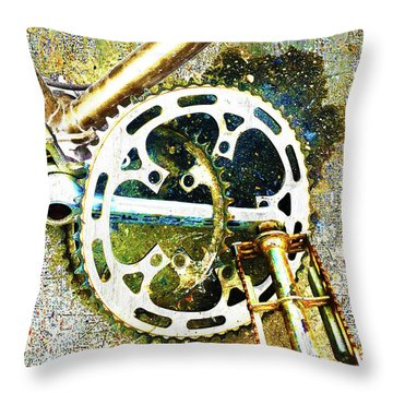 Throw Pillow featuring the mixed media Gear by Tony Rubino