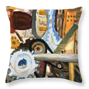 Gears In The Machine Throw Pillow