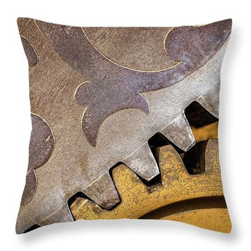 Gears Throw Pillow by Jae Mishra