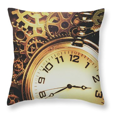 Gears Of Time Travel Throw Pillow