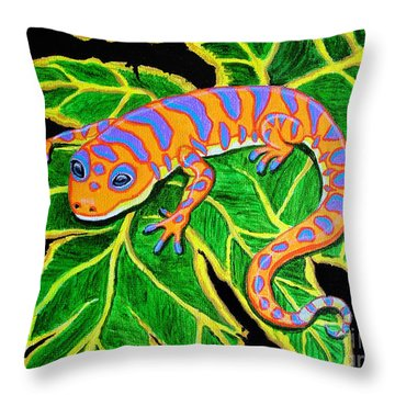 Gecko Hanging On Throw Pillow by Nick Gustafson