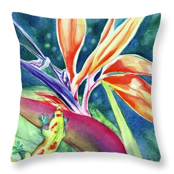 Gecko On Bird Of Paradise Throw Pillow