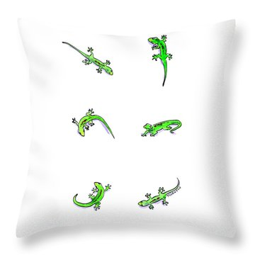 Gecko Play Throw Pillow