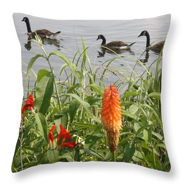 Throw Pillow featuring the photograph Geese And Flowers by Ellen Tully