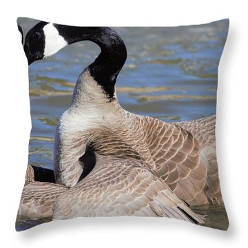 Throw Pillow featuring the digital art Geese In Love by Margarethe Binkley