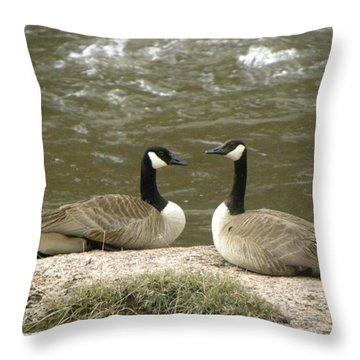 Throw Pillow featuring the photograph Geese Platt River Deckers Co by Margarethe Binkley