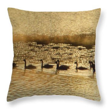 Geese On Golden Pond Throw Pillow