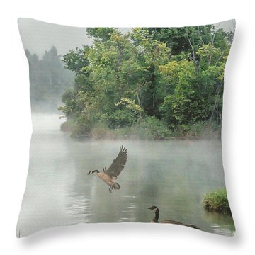 Geese On Misty Lake Throw Pillow