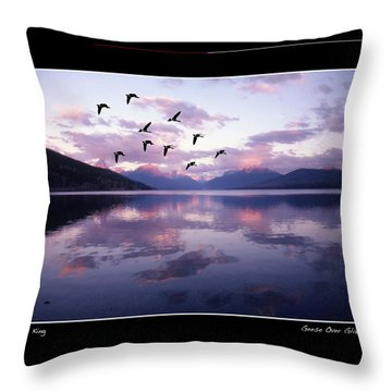 Geese Over Glacier Lake Poster Throw Pillow