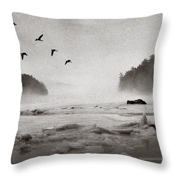 Geese Over Great Bay Throw Pillow