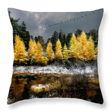 Geese Over Tamarack Throw Pillow