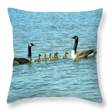 Geese Proud Parents Throw Pillow