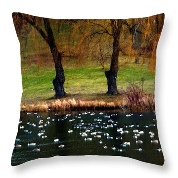 Geese Weeping Willows Throw Pillow