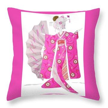 Geisha Barbie -- Whimsical Geisha Girl Drawing Throw Pillow