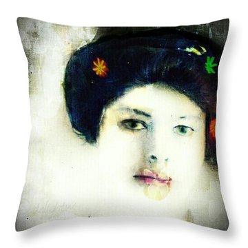 Throw Pillow featuring the digital art Geisha by Delight Worthyn