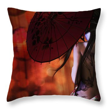 Throw Pillow featuring the digital art Geisha Gold Crop by Shanina Conway