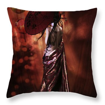Throw Pillow featuring the digital art Geisha Gold by Shanina Conway
