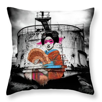Throw Pillow featuring the photograph Geisha Graffiti by Adrian Evans