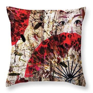 Geisha Grunge Throw Pillow by Paula Ayers