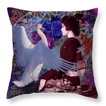 Geisha Swan Dance Throw Pillow