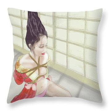 Throw Pillow featuring the mixed media Geisha by TortureLord Art