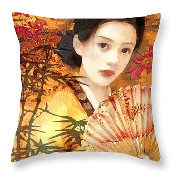 Geisha With Fan Throw Pillow