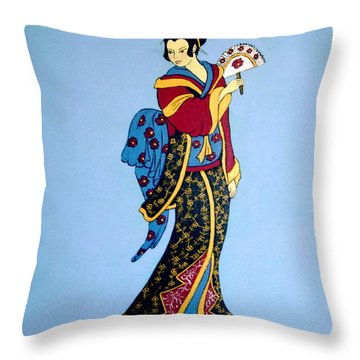Throw Pillow featuring the painting Geisha With Fan by Stephanie Moore
