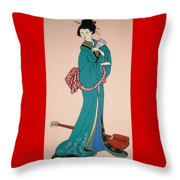 Throw Pillow featuring the painting Geisha With Guitar by Stephanie Moore