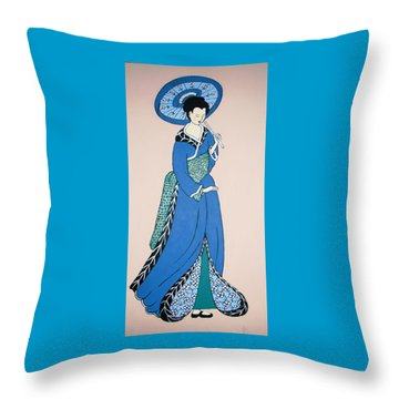 Throw Pillow featuring the painting Geisha With Parasol by Stephanie Moore