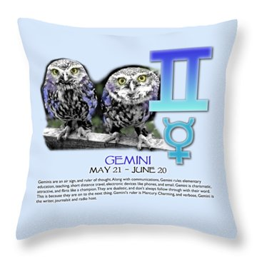Gemini Sun Sign Throw Pillow