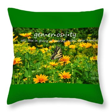 Throw Pillow featuring the photograph Gen Er Os I Ty  by Diane E Berry