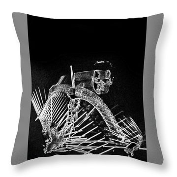 Throw Pillow featuring the mixed media Gene Krupa by Charles Shoup