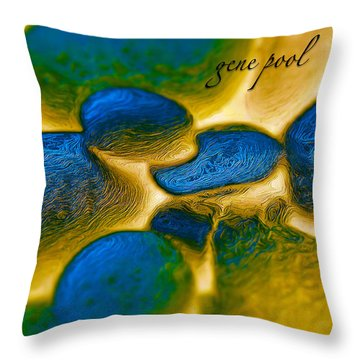 Throw Pillow featuring the digital art Gene Pool Blue by ISAW Company