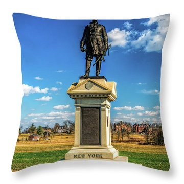 Throw Pillow featuring the photograph General Abner Doubleday - Gettysburg National Park by Nick Zelinsky