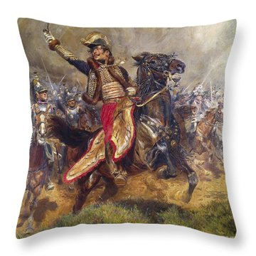 General Antoine-charles-louis Lasalle Throw Pillow by Jean Baptiste Edouard Detaille