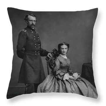 General Custer And His Wife Libbie Throw Pillow by War Is Hell Store