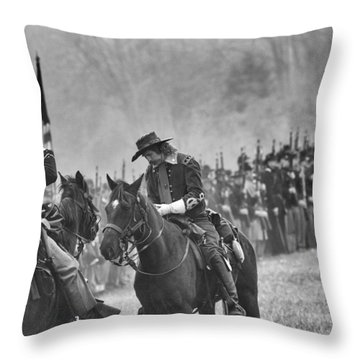 General Custer Reviews Terms Throw Pillow by Alan Raasch