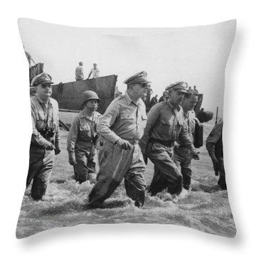 General Douglas Macarthur Returns Throw Pillow