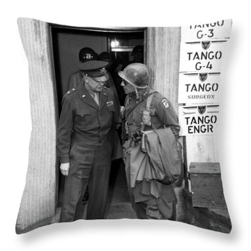 Throw Pillow featuring the photograph General Eisenhower And General Ridgway  by War Is Hell Store