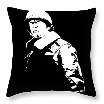 General George Patton - Black And White Throw Pillow