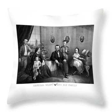 Throw Pillow featuring the mixed media General Grant And His Family by War Is Hell Store