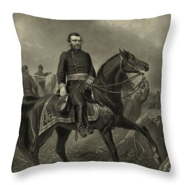 General Grant On Horseback  Throw Pillow by War Is Hell Store
