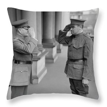 General John Pershing Saluting Babe Ruth Throw Pillow by War Is Hell Store