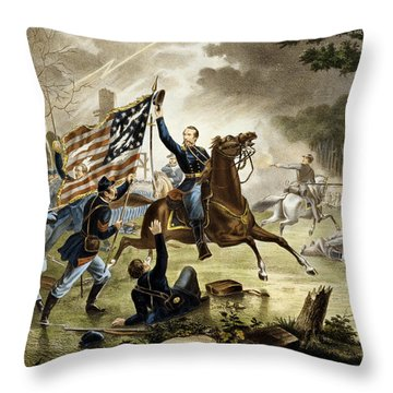 General Kearney's Gallant Charge At The Battle Of Chantilly Throw Pillow