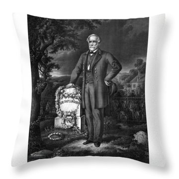 General Lee Visits The Grave Of Stonewall Jackson Throw Pillow