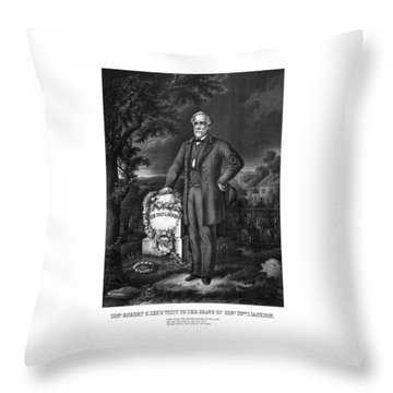 General Lee Visits The Grave Of Stonewall Jackson Throw Pillow by War Is Hell Store