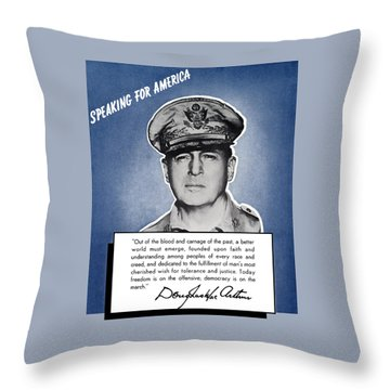 General Macarthur Speaking For America Throw Pillow by War Is Hell Store