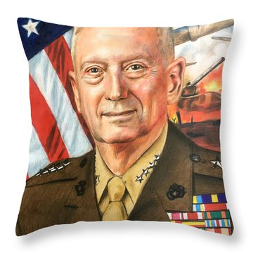 General Mattis Portrait Throw Pillow by Robert Korhonen