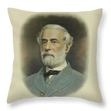 General Robert E. Lee Color Portrait  Throw Pillow