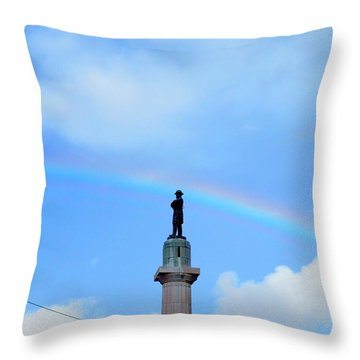 General Robert E. Lee Mounment In Retro Spectrum Throw Pillow